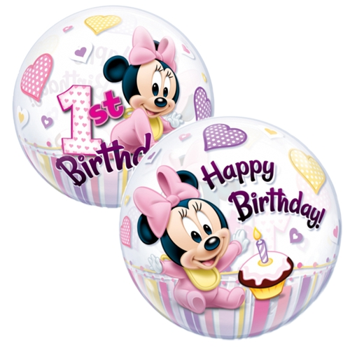 bubble luftballon minni maus baby happy 1st birthday inklusive helium lu bubble luftballon. Black Bedroom Furniture Sets. Home Design Ideas