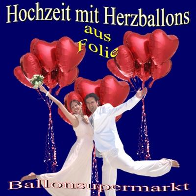 Herzluftballons aus Folie, Herzen, Herzballons mit Helium zur Hochzeit
