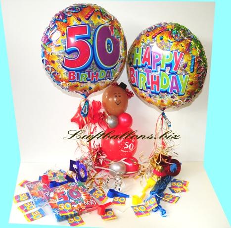 Bild. Dekoration zum 50. Geburtstag mit Luftballons