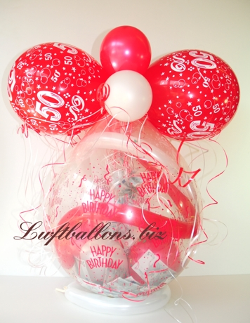 Bild. Geschenk-Luftballon zum 50sten Geburtstag mit Geldscheinen