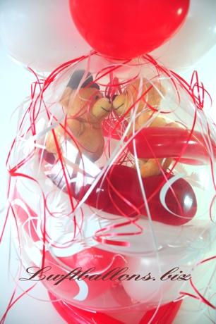 Bild. Hochzeitspaar, B�rchen aus Pl�sch im Geschenk-Luftballon