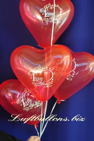 Bild. Herz-Luftballons I Love You mit Helium