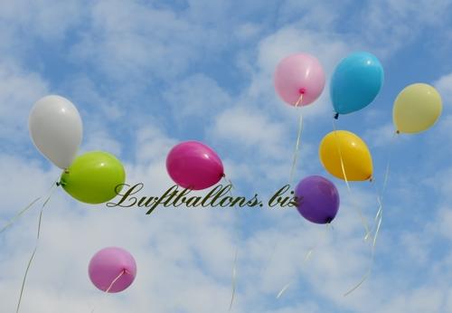 Bild. Luftballons in Pastellfarben schweben mit Helium zum Himmel aufsteigend