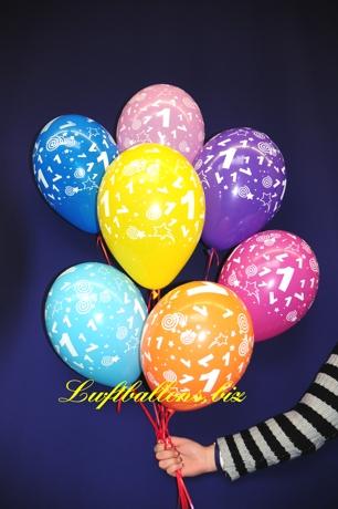 Bild. Luftballons mit der Zahl 1