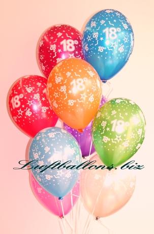 Bild. Luftballons mit der Zahl 18 zum 18ten Geburtstag