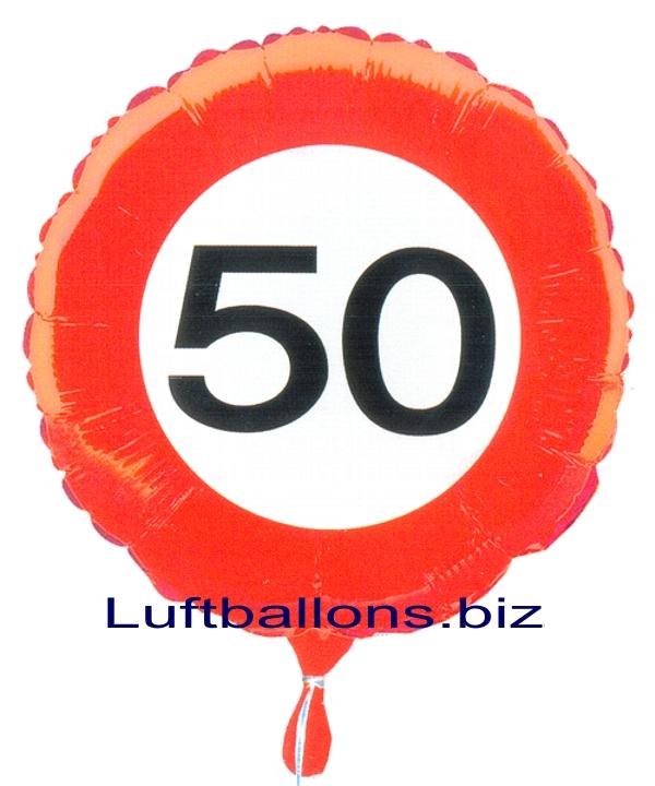 geburtstagsgeschenk luftballon mit helium im karton verkehrsschild zahl 50 50 geburtstag lu. Black Bedroom Furniture Sets. Home Design Ideas
