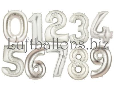 Zahlen in Silber, Jumbo Luftballons aus Folie