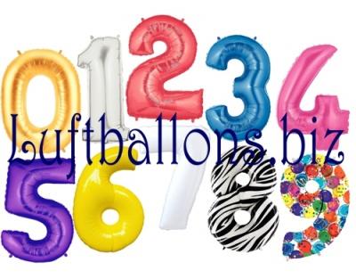 Luftballons aus Folie, Große Zahlen