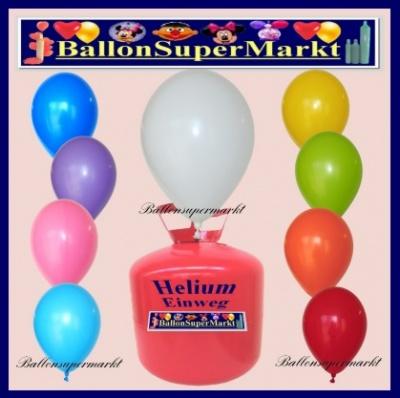 Luftballons mit Helium in 2,2 Liter Einwegflaschen