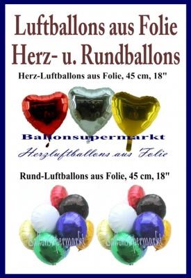 Herzluftballons und Rundluftballons
