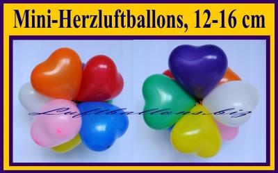Mini-Herzluftballons 12-16 cm
