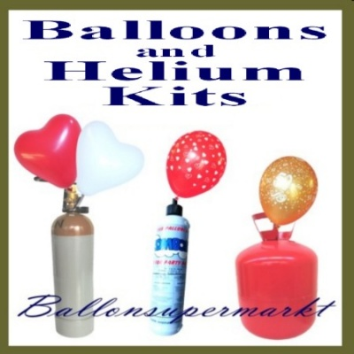Luftballons mit Helium in Flaschen