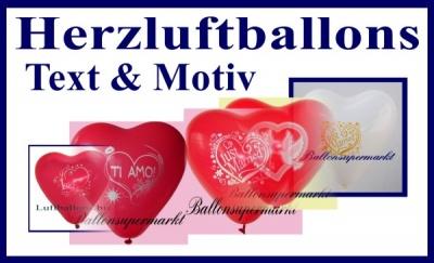 Herzluftballons mit Text und Motiv