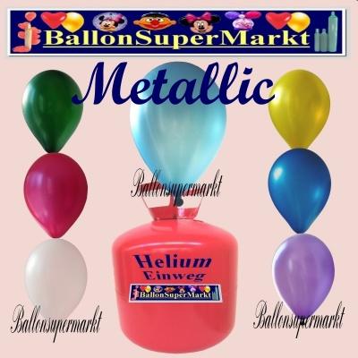 Metallic Luftballons mit Helium in 2,2 Liter Einwegflaschen