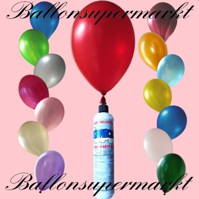 Metallic Luftballons mit Helium in kleinen Flaschen, Mini-Helium-Einweg