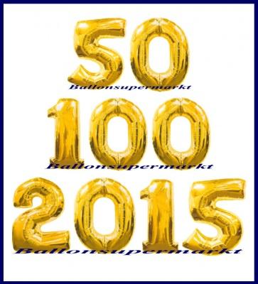 Zahlen in Gold, Jumbo Luftballons aus Folie