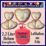 Folienballons mit Helium in 2,2 Liter Einwegflaschen