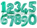 Zahlen in Aquamarin, Jumbo Luftballons aus Folie