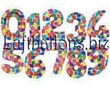Zahlen mit Ballonmuster, Jumbo Luftballons aus Folie