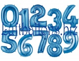 Zahlen in Blau, Jumbo Luftballons aus Folie