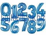 Große Zahlen, Blau, 100 cm, inklusive Helium-Ballongas