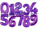 Große Zahlen, Lila, 100 cm, inklusive Helium-Ballongas