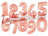 Zahlen in Rosegold, Jumbo Luftballons aus Folie