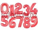 Große Zahlen, Rot, 100 cm, inklusive Helium-Ballongas