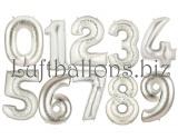 Große Zahlen, Silber, 100 cm, inklusive Helium-Ballongas