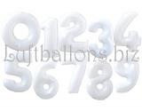 Große Zahlen, Weiß, 100 cm, inklusive Helium-Ballongas