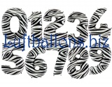 Große Zahlen, Zebra-Optik, 100 cm, inklusive Helium-Ballongas