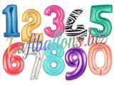 Zahlen, Jumbo Luftballons aus Folie