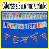 Geburtstag, Banner und Girlanden