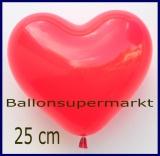 Herzluftballons, Rot, 25 cm, Premium-Qualität