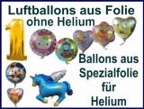 Luftballons aus Folie, ohne Helium