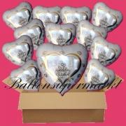 18 Luftballons mit Helium zur Hochzeit, Wedding Wishes mit Hochzeitstauben im Herz, Glückwünsche, Folienballone