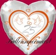 Luftballon zur Silberhochzeit, Folienballon, Zahl 25, Hochzeitstauben, mit Helium