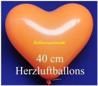 Orangene Herzluftballons, 40 cm, 50 Stück