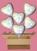 6 Luftballons mit Helium zur Hochzeit, Just Married. frisch verheiratet mit Sektgläsern, Folienballone