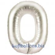 Zahlen-Luftballon Silber, Zahl 0