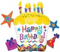 Happy Birthday Geburtstagstorte, Folien-Luftballon Cluster mit Helium zum Geburtstag