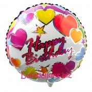 Happy Birthday Hearts, Folien-Rundluftballon mit Helium zum Geburtstag