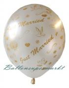 Hochzeits-Luftballons, Just Married, Weiß, 25 Stück