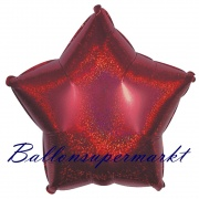 Sternballon, Luftballon aus Folie, Stern, 45 cm, Rot, Holografisch