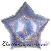 Sternballon, Luftballon aus Folie, Stern, 45 cm, Silber, Holografisch