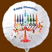 Weißer Chanukka-Luftballon aus Folie mit Helium