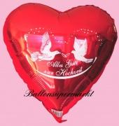 Luftballon zur Hochzeit, Folienballon, Alles Gute zur Hochzeit, Rot, mit Helium