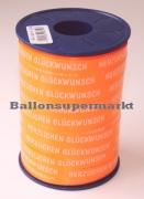 Ballonband 250 m Orange mit Schriftzug Herzlichen Glückwunsch