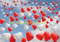 Ballonflugkarte Hochzeit, Herzluftballons