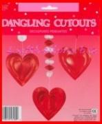 Herzdeko-Hänger, Partydeko-Herzen mit Folienverzierung, 3 Stück